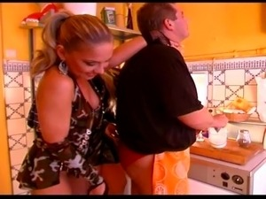 Nasty neighbors have kinky threesome in kitchen