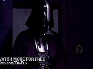 Princess Lea (Allie Hayes) suck Darth Vader (Lexington Steele) in Star Wars...
