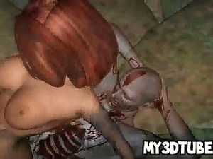 3D redhead babe riding a zombies cock in the woods