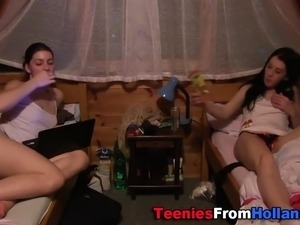 Showered teen lesbian eaten out and fingered in hi def