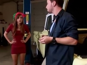 Petite sexy babe pounced hard in garage in this hd video