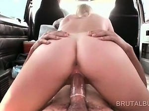 Teen cutie jumping hard pecker like a slut on the bus floor