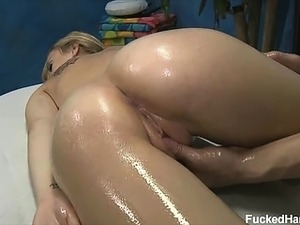 Sexy blond Mae Myers seduced and fucked hard on the massage