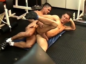 Latino muscle men barebacking close up
