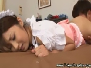 Guy takes a look under asian maids skirt free