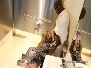Pornstar Sara Jay Sucks Huge Black Cock in Bathroom free