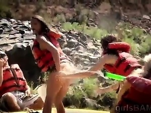 Naked hotties ride in extreme kayak for this hot reality show