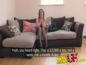 FakeAgentUK Promise of cash helps brunette take agents cock balls deep free