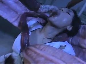 Sexy asian nurse does blowjob for tentacles