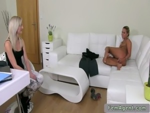 Female agent licks pussy of amateur babe on couch free