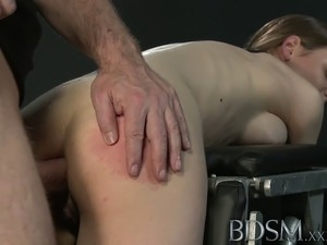 Young big breasted sub gets hard anal from her Master
