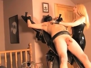 Femdom humiliation and masochism in latex
