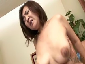 Curvy asian MILF riding and creampied free