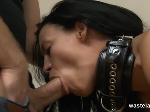 Shackled and sucking a big cock