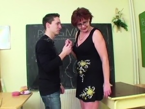 German Milf Teacher show young boy how to get pregnant