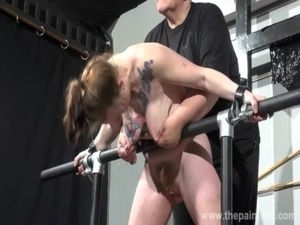 Basket hung from nipples in extreme tit tortures and sex toy domination free