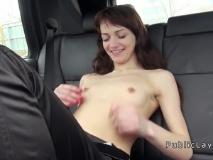Amateur babe fucking in the car in public for cash