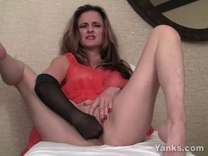 Awesome amateur MILF in sexy red lingerie Tirrza fingering her slick twat