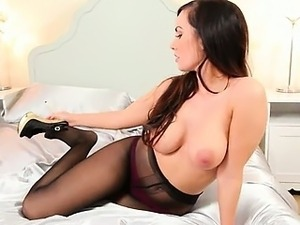 breasty brunette in shoes stripping