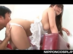 Japanese tempting maid stripped and pussy licked from her sexy behind
