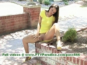Gracie amazing brunette girl posing and masturbating outdoor