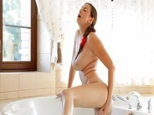 ultra big tits in bathroom and red toy
