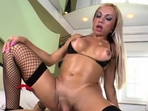 Brazilian shemale Sheylla Wandergirlt gets banged in the ass