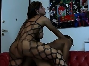 Shemale MILF in netting suit fucks a black stud