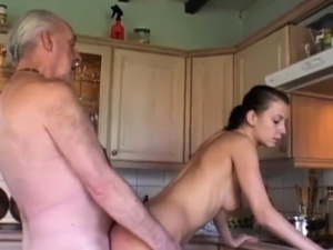 Fetishist brunette licking wrinkled old man
