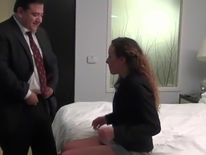 Fat ugly old man fuck a young beauty escort in a hotel room