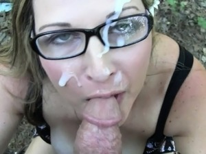 Cute Nerdy Wife Sucks Cock and takes a Mean Facial