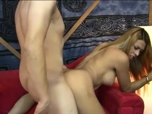 Big boobs blonde shemale Roxxy gets her asshole ripped