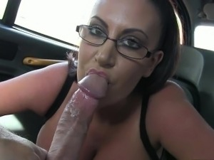 Huge boobies passenger banged and creampied by the driver