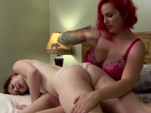 TS redhead beauty spanked and fingered