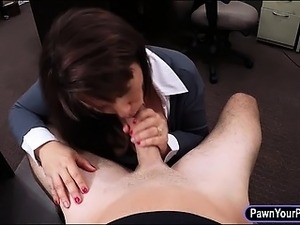 Booby milf screwed at the pawnshop to bail out her hubby