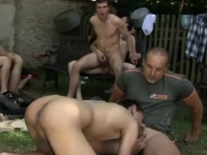 Crazy garden group sex gay party with double anal action