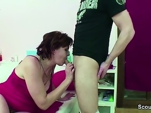 Mother Caught Step-Son Jerk and Helps with Fuck