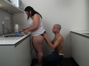 Fat girlfriend slammed on the kitchen