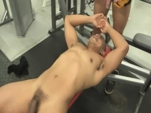 Naked workout seduces man in gym