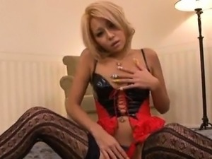 Rica in black stockings sucks dong while getting doggy in