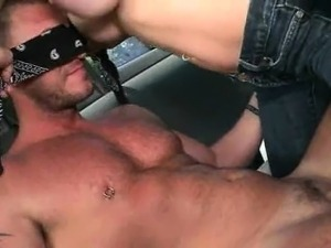 Gorgeous stud taking gay oral sex in the bus