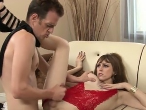 pleasing busty shemale banged in her ass