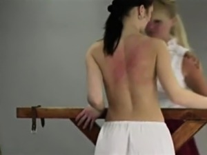 Blonde punishes brunette