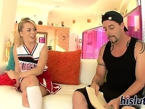 Naughty cheerleader gets cum on her tight body