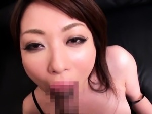 Nippon milf in lingerie drooling on cock
