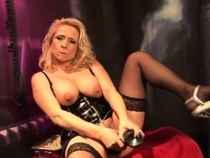 Blonde milf with big tits loves to dominate