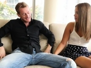 Lovely Liza fucked her ex boyfriends Old man on a couch