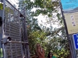 Hot girls going up the stairs in bikini 2