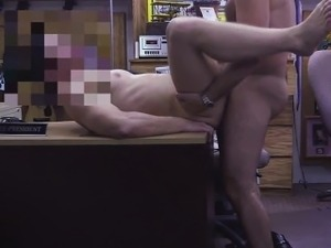 Pawnshop staff blows customer cock
