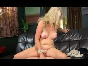 Filt blonde MILF takes young hard cock